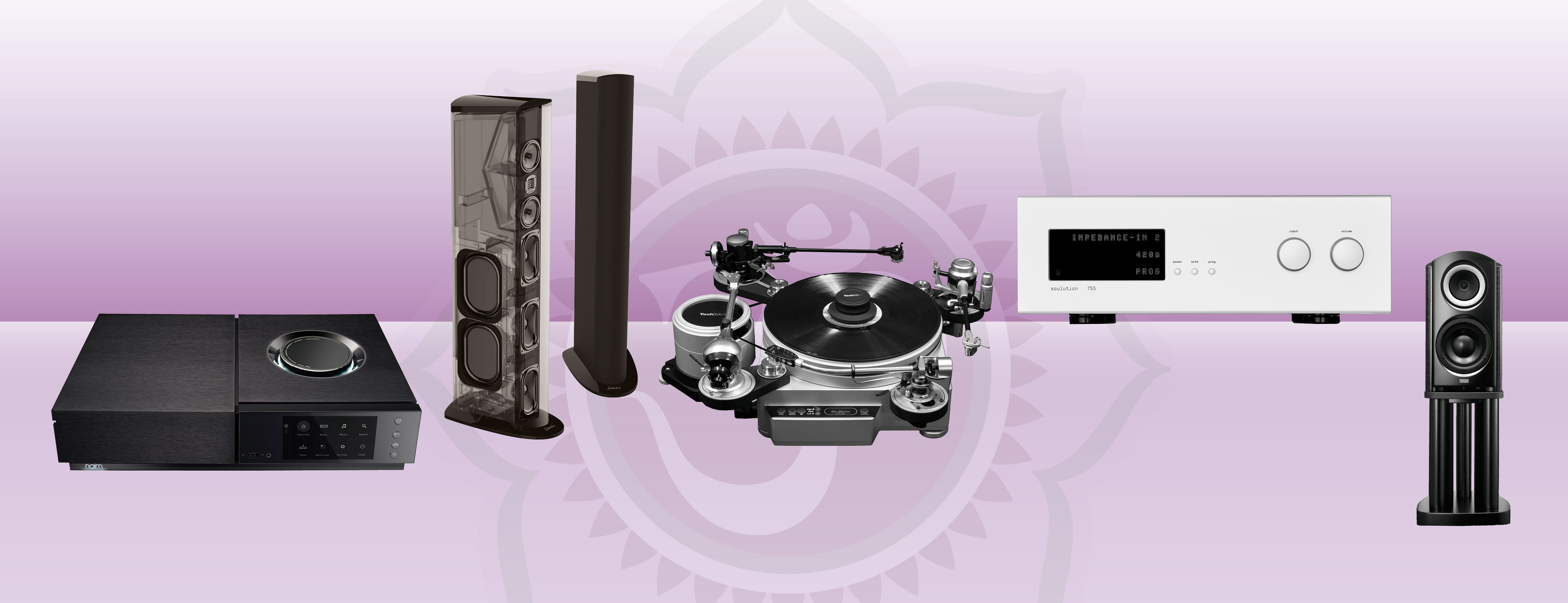v.l.n.r.: NAIM Uniti Nova, Golden Ear Triton, Techdas AF3, Soulution 755, TAD Micro Evolution